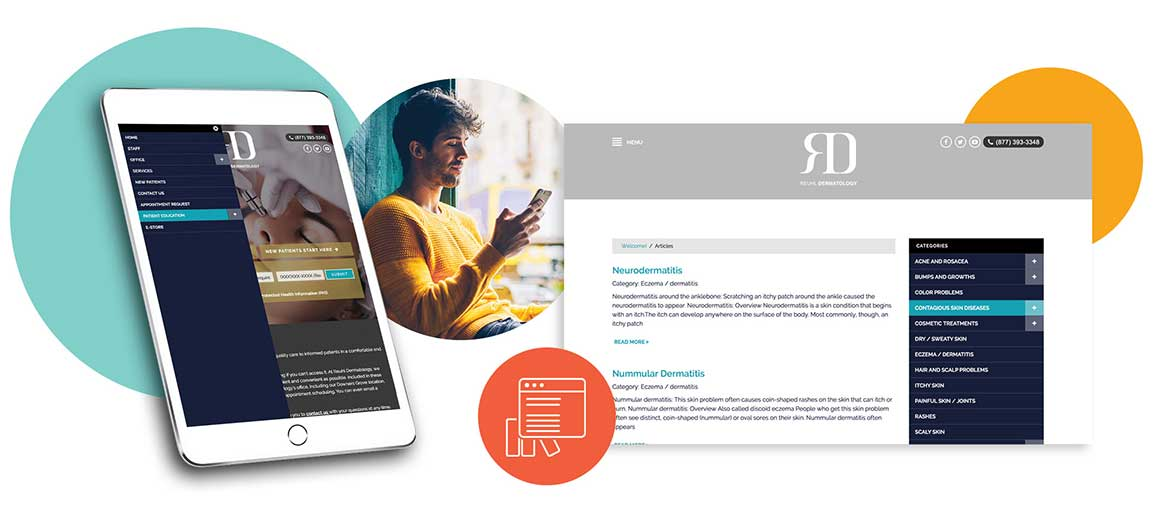 patient education website mobile and desktop examples