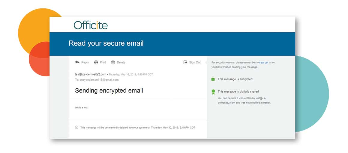 sent secure email message